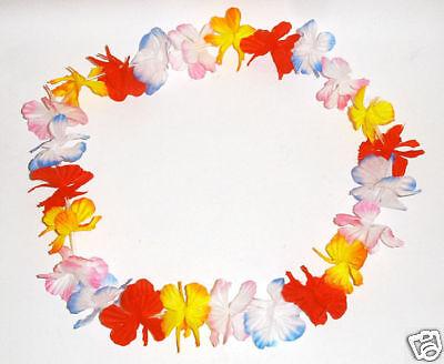 3 x Hawaiikette (Hawai) Blumenkette bunt  Hula *Seide