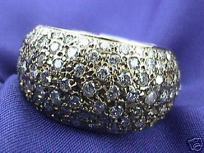 CIGAR BAND 2.25 ct ladies YELLOW GOLD DIAMOND RING 14K